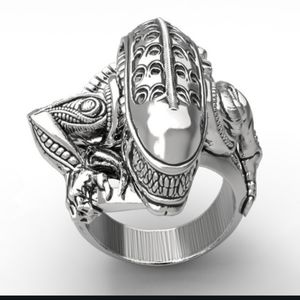 NWT Stainless Steel Silver 8 Alien Goth Ring!